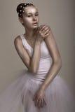 Extravagantie. Prestaties. Glanzende Vrouw met Heldere Bruin - Zilveren Make-up Stock Afbeelding