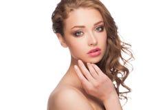 Vrouw met heldere make-up royalty-vrije stock foto's