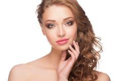 Vrouw met heldere make-up stock fotografie