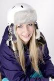 Vrouw met helm Stock Foto