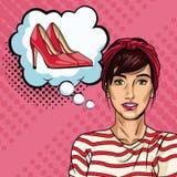 Vrouw met het beeldverhaal van het bellenpop-art vector illustratie