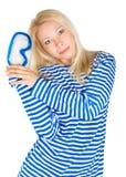 Vrouw met het duiken masker in zeemanskleding Royalty-vrije Stock Foto