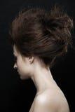 Vrouw met het kapsel van manierupdo Stock Foto's