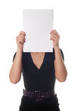 Vrouw met het lege blad van document Stock Fotografie