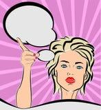 Vrouw met het Pop-artstijl van de toespraakbel vector illustratie