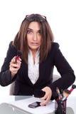 Vrouw met het samenstellingswerk royalty-vrije stock foto