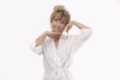 Vrouw met het strelen van gebaar Royalty-vrije Stock Afbeelding