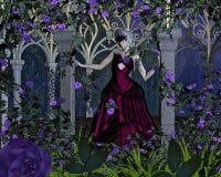 Vrouw met het Venetiaanse Masker van Carnaval in Roze Arbour Stock Fotografie