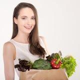 Vrouw met het winkelen zak Stock Fotografie