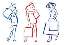 Vrouw met het winkelen zak, inzameling Stock Foto