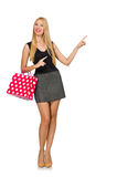 Vrouw met het winkelen zakken op wit wordt geïsoleerd dat Royalty-vrije Stock Afbeeldingen