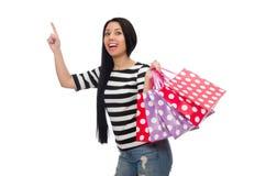 Vrouw met het winkelen zakken op wit wordt geïsoleerd dat Royalty-vrije Stock Afbeelding