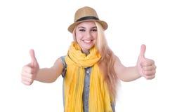 Vrouw met hoed Stock Afbeelding