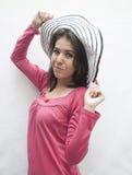 Vrouw met hoed Stock Foto's