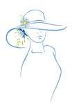 Vrouw met hoed en bloem Stock Foto