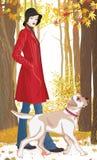 Vrouw met hond royalty-vrije illustratie
