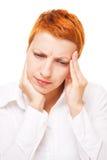 Vrouw met hoofdpijn Stock Foto