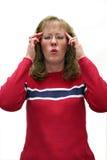Vrouw met hoofdpijn royalty-vrije stock afbeeldingen