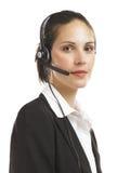 Vrouw met hoofdtelefoon 1 Royalty-vrije Stock Afbeeldingen