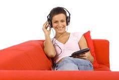 Vrouw met hoofdtelefoon stock afbeeldingen