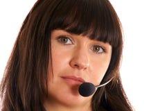 Vrouw met hoofdtelefoon stock foto's