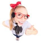 Vrouw met hoofdtelefoon Royalty-vrije Stock Fotografie