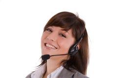 Vrouw met hoofdtelefoon stock afbeelding