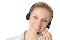 Vrouw met hoofdtelefoons Royalty-vrije Stock Foto