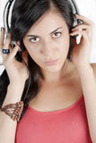 Vrouw met hoofdtelefoons royalty-vrije stock afbeelding
