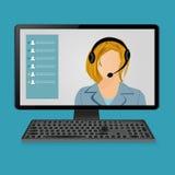 Vrouw met hoofdtelefoons op het scherm van de computermonitor Stock Foto's