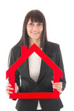 Vrouw met huis Stock Afbeeldingen