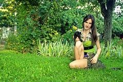 Vrouw met huisdieren Stock Afbeelding