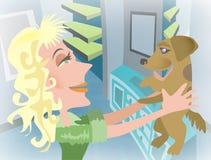 Vrouw met huisdierenhond Royalty-vrije Stock Foto's
