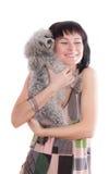 Vrouw met huisdierenhond Royalty-vrije Stock Afbeeldingen