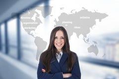 Vrouw met kaart en bedrijfsconcepten stock afbeelding