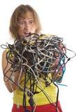 Vrouw met kabels Royalty-vrije Stock Foto's