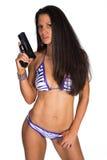 Vrouw met kanon Stock Afbeeldingen