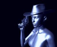 Vrouw met kanon stock illustratie