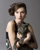 Vrouw met Kat Royalty-vrije Stock Foto