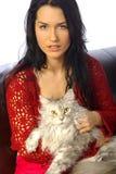 Vrouw met kat Stock Afbeelding