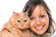 Vrouw met kat Stock Foto's