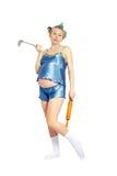 Vrouw met keukengereedschap stock afbeelding