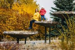 Vrouw met kind in de herfstpark stock foto's