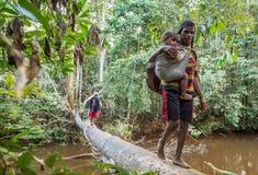 Vrouw met kind die rivier op de brug van de boomboomstam kruisen, stam van Korowai-mensen Stock Foto's