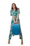 Vrouw met klaar koffer stock afbeeldingen