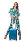 Vrouw met klaar koffer stock afbeelding