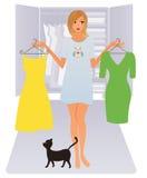 Vrouw met kleren Stock Foto
