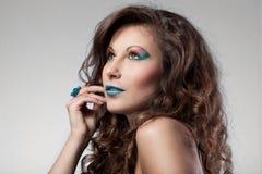 Vrouw met kleurensamenstelling Stock Foto