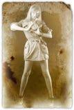 Vrouw met klok stock afbeeldingen