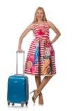 Vrouw met koffer Stock Afbeelding
